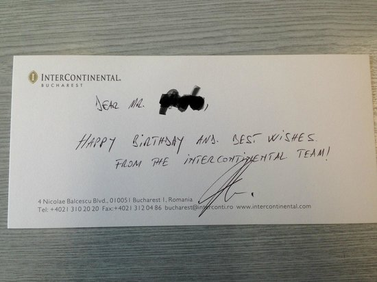 InterContinental Bucharest: Nice birthday touch