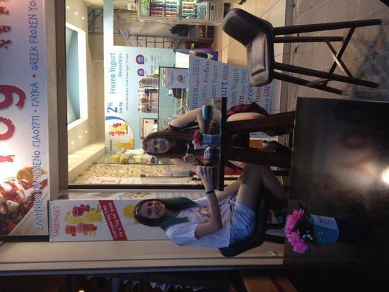 Yog-inn Frozen Yogurt & Master Waffles: Local Girls enjoying an afternoon Yogurt Snack