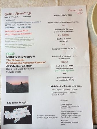 Hotel Astor: menu tipo