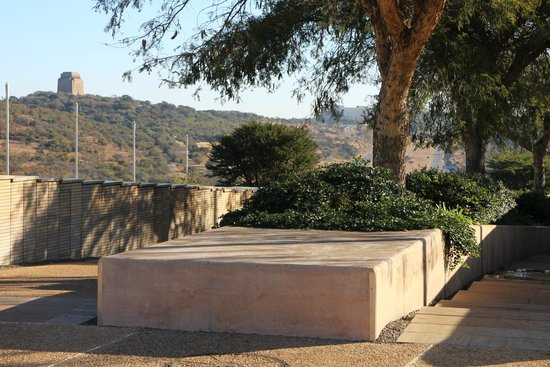 """Freedom Park: Voortrekker Monument in distance, connected by the new """"Liberation Avenue"""""""