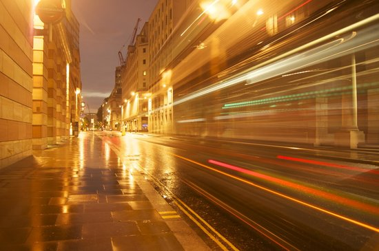 Official London Photography Tours: Light Trails on the street approaching to St Paul Cathedral