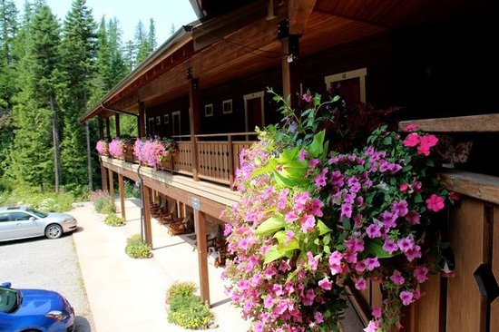 Glacier Guides Lodge: Flower boxes add color to the beautiful structure