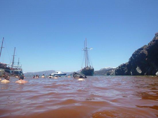 Santorini Volcano: The boats weren't far at all
