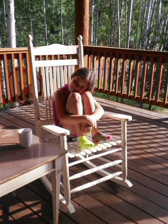 South Fork, Kolorado: She loved rocking chair out on deck!