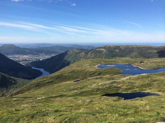 Vidden Trail between Mt. Floyen and Mt. Ulriken: Bergen full sight