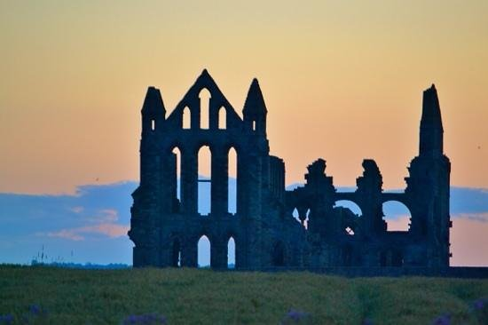 Whitby Harbour: the Abbey in the evening