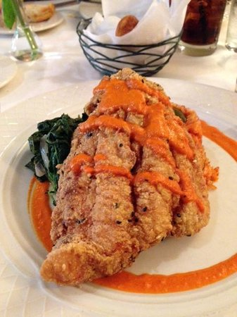 Georgia Brown's : Fried Catfish with Spinach and Tomato Base Rice