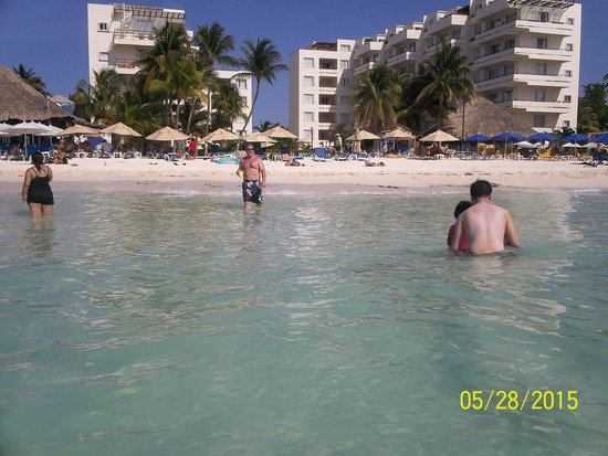 Looking back at our hotel (Ixchel) from the water on Playa Norte