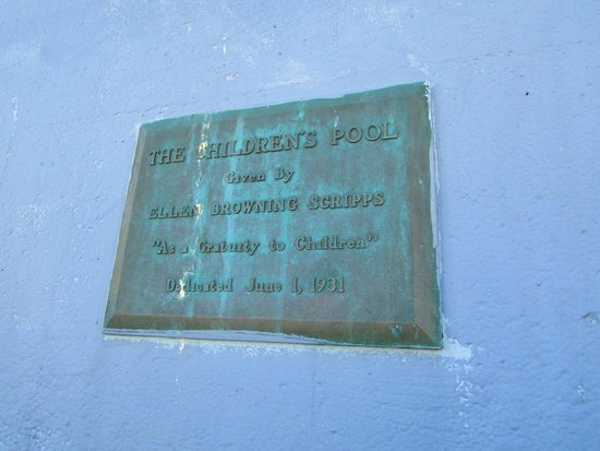 Ellen Browning Scripps Park: placa no Children's Pool