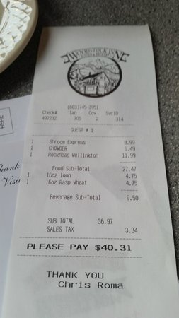 Woodstock Inn Station & Brewery: Copy of receipt from dining