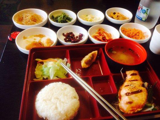 Nak Won: Salmon teriyaki with all the sides.
