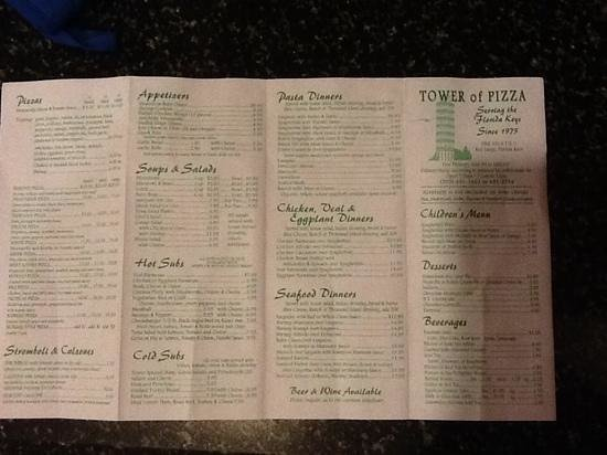Tower Of Pizza: menu July 2014