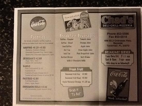 Chad's Deli & Bakery: Chad's Breakfast menu side 2