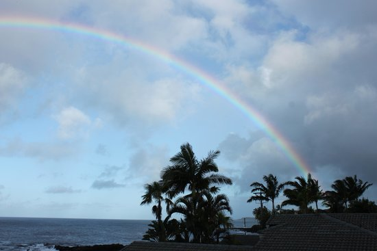 Alihi Lani Poipu Beach Oceanfront Condominiums: Rainy morning, but still awesome
