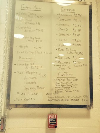 Menu and Price list - Picture of Dolcezza Gelato Factory