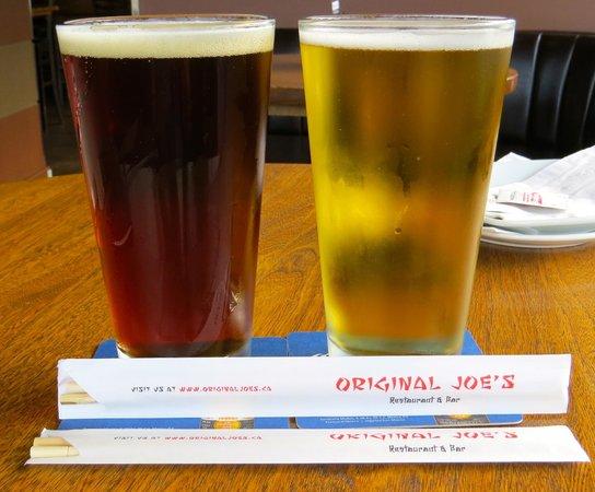 Original Joe's Restaurant & Bar: Big Rock Traditional Ale at left, Original Joe's Blonde Lager at right