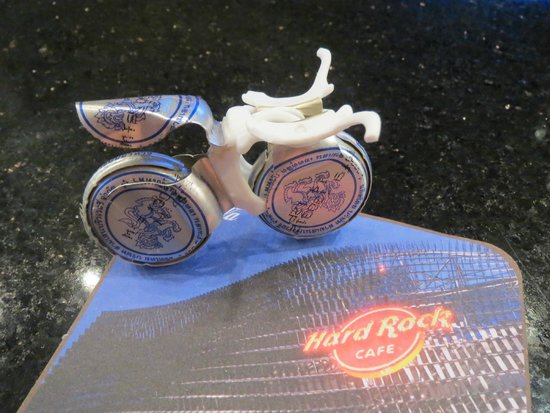 Hard Rock Cafe Bangkok : Hard Rock harley made from water bottle caps by Chatchai