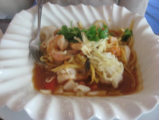 Thai Noodle Seafood Prawns Clams Mussels Scallops With Thicker
