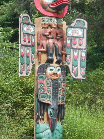 Saxman Native Village : Close-up of Totem Pole near highway