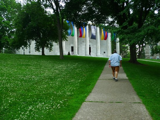 A Walk Toward Colorful Banners on a Rainy Day: Middlebury College