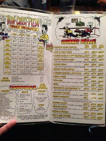 Turoni's Pizzery & Brewery : Pizza menu