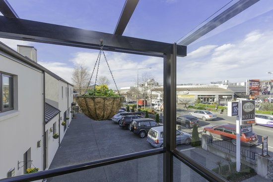 Kauri Motel on Riccarton : a view from the balcony outside units 25, 26, 27, 28
