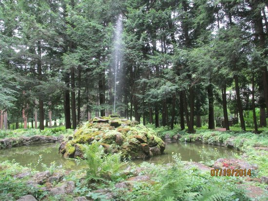 Yaddo Gardens: Fountain coming out of moss-covered rocks
