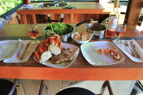 Ecoscape Cabins: Surf and Turf dinner cooked up in the barbeque gazebo