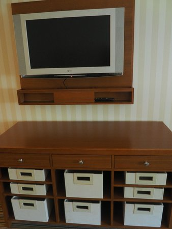 "Four Points by Sheraton Prince George: 32"" Flat screen TV and storage baskets"