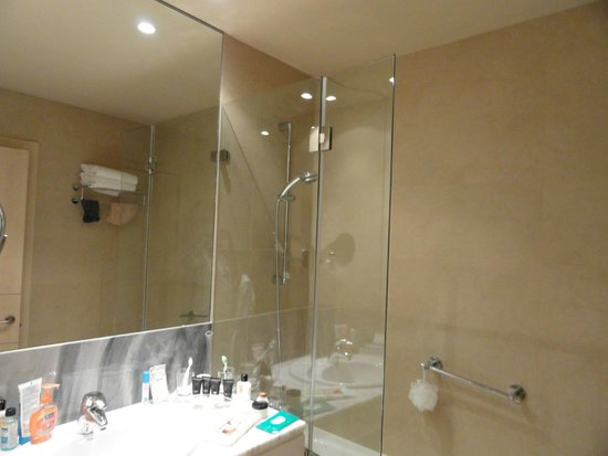 Hotel Paseo del Arte: That partial glass barrier did not prevent water from spilling outside the tub/shower.