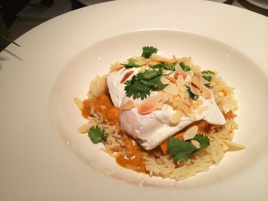 Fish Ragout served with Poached Egg and Pilaf Rice