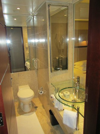 Sheraton Hong Kong Hotel & Towers: View of the bathroom, narrow but well laid out