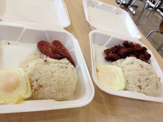Chow King: Filipino breakfast - garlic rice, egg, cured beef and sausage