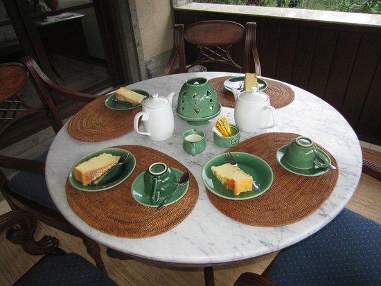 Alam Shanti: afternoon tea on our balcony