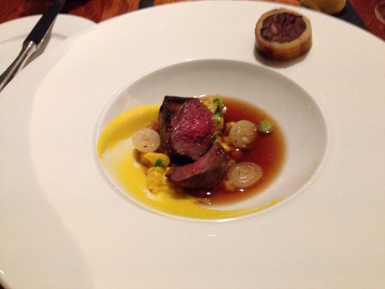 Maze: Pigeon in broth served with black pudding