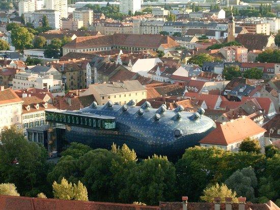 Grazer Schloßberg: Aussicht - Grazer Kunsthaus