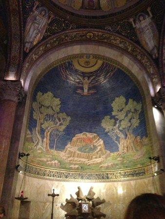 Garden of Gethsemane: Фреска Иисус молится на скале