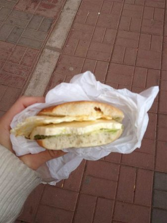 Marlon's House Puno: Yummy avocado and cheese sandwich just sold right outside the hotel!