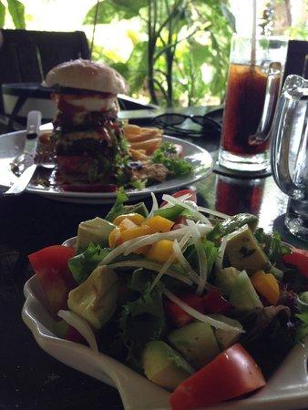 Mangoes: Burger and avocado salad
