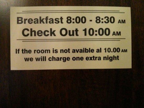 Welcome Bed & Breakfast : Frühstück kostet extra