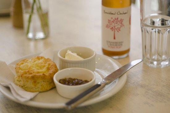 The Tea House: Cheese Scone with cream cheese & onion chutney, Strawberry and rhubarb posh pop