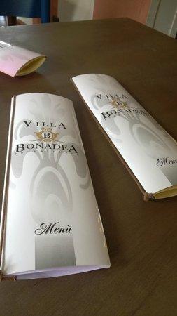Villa Bonadea: Menu e carta dei vini