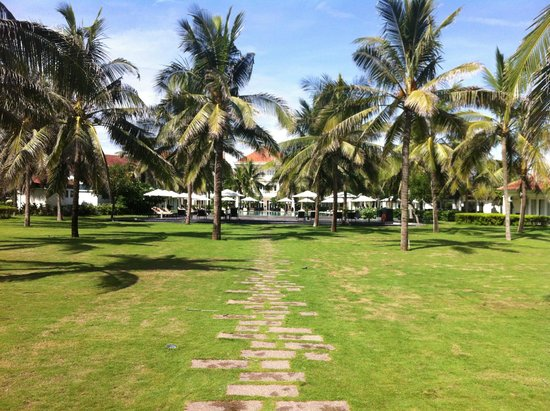 Boutique Hoi An Resort: Resort gardens and pool