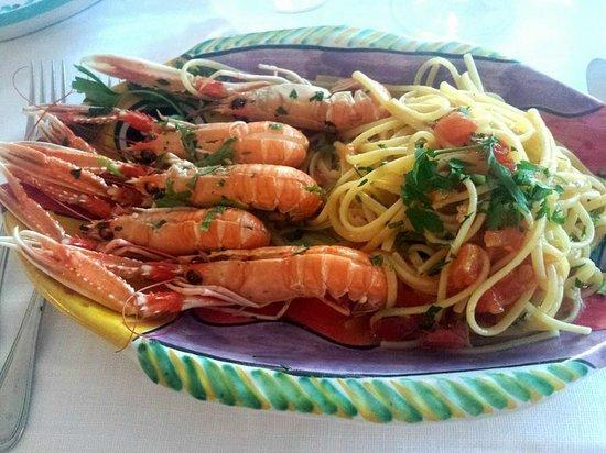 Da Vincenzo: Scampi con spagetti