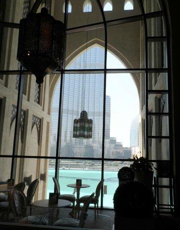 View from the Souk AL Bahar to the Burj Khalifa