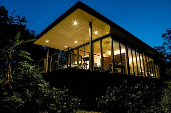 Glass on Glasshouse: Cottage at night