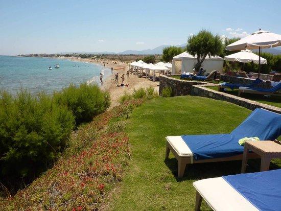Amirandes, Grecotel Exclusive Resort: la plage à droite