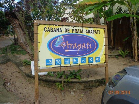 Cabana Arapati: placa indicativa do local