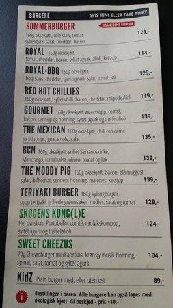 Royal GourmetBurger & Gin: Burger menu