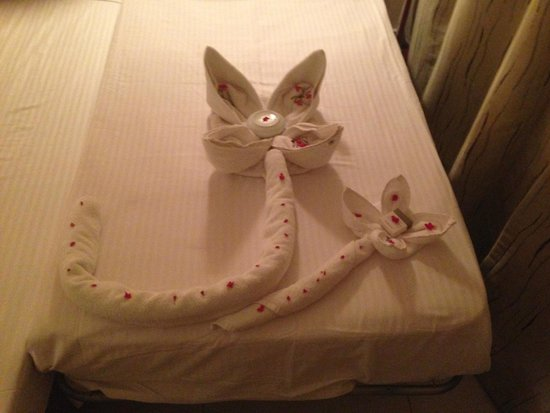 Concorde El Salam Hotel : Towel 'sculpture' by our cleaner